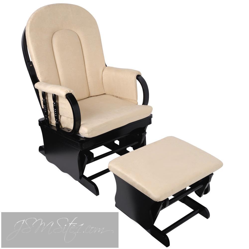 Baby Breast Feeding Sliding Glider Chair w/ Ottoman Natural Wood ...