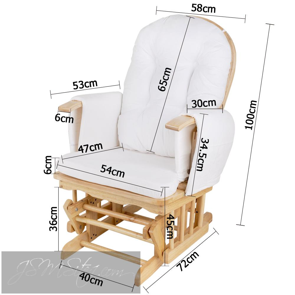 Baby Breast Feeding Sliding Glider Chair w/ Ottoman Natural Wood ...