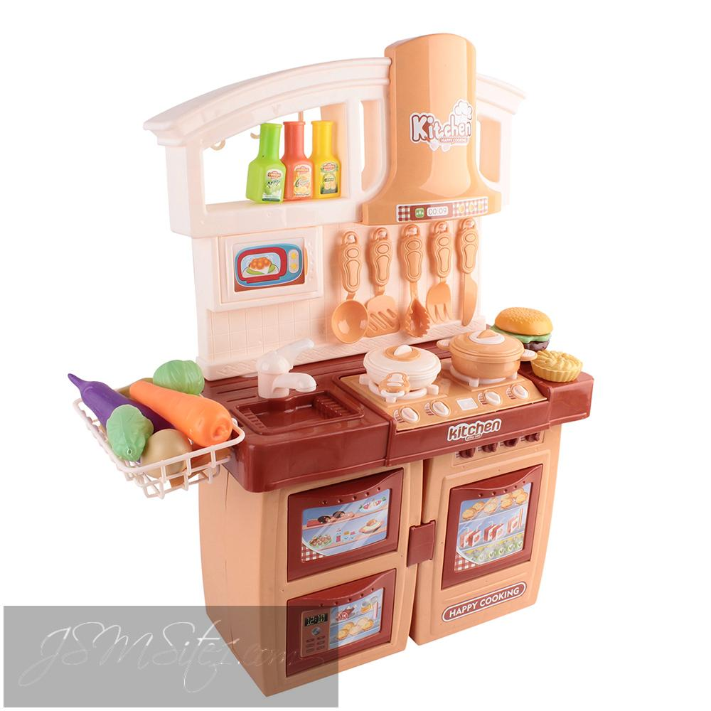 Kids orange kitchen play set for Kitchen set red