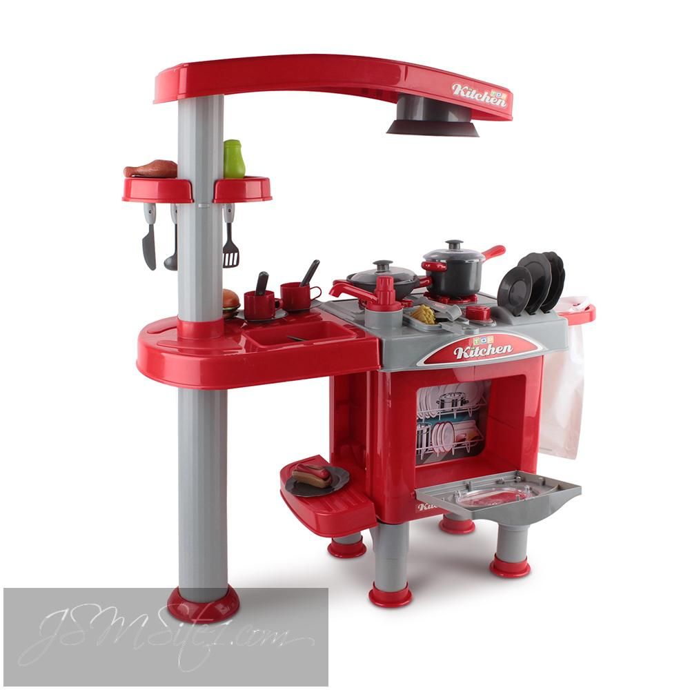 Genial Kids Kitchen Play Set In Red Inage